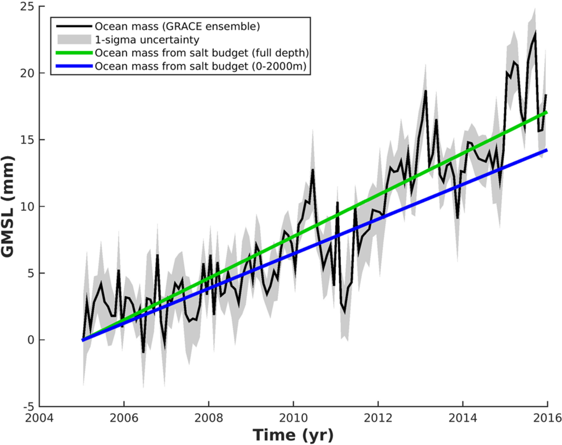 Ocean mass contribution to global mean sea level
